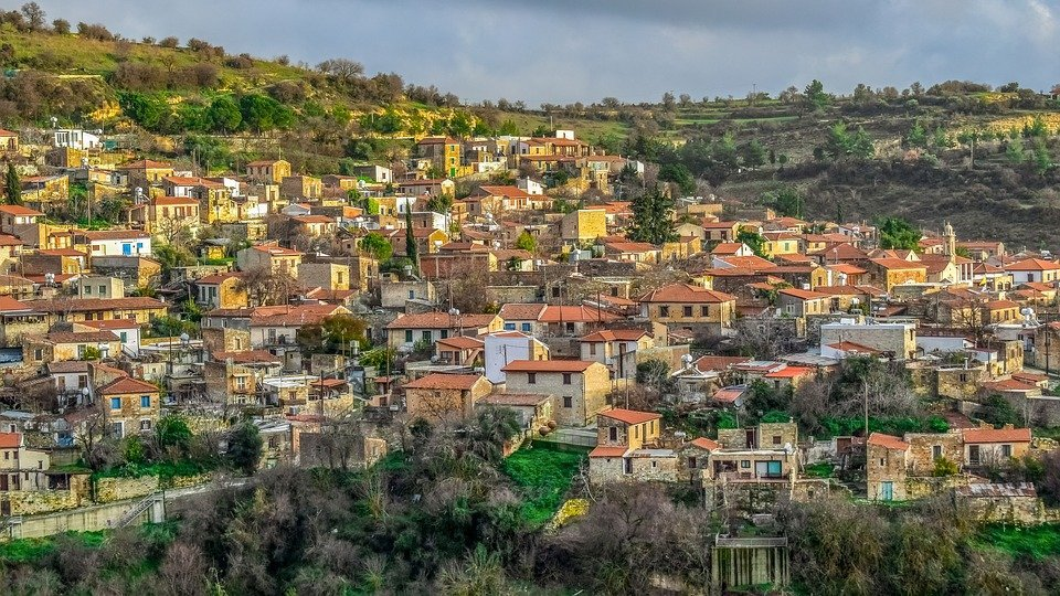 Cyprus, Arsos, Village, Panorama, Landscape, View